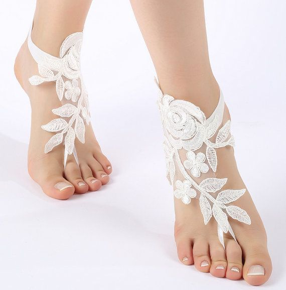 Free Ship ivory or white flexible ankle sandals by ByMiracleBridal