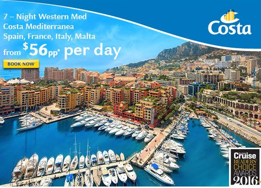 7 night Western Med cruise from 56pp per day - When you click on the link below you'll be invited to enrol directly - instead contact me directly to book your trip and I'll ensure you get the best price and service you deserve - email me at jpringle@cruiseshipcenters.com or cell 250-588-0969