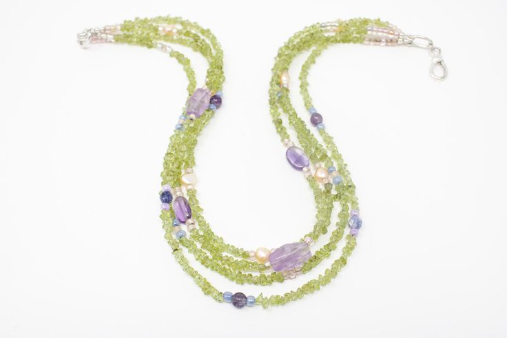 Peridot and Amethyst Necklace, Gemstone Necklace with Pearls, Multi Strand Necklace, Mermaid Necklace while you can!  https://www.etsy.com/listing/492742497/peridot-and-amethyst-necklace-gemstone?utm_campaign=crowdfire&utm_content=crowdfire&utm_medium=social&utm_source=pinterest