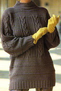 Le pull long à mailles en relief - free pattern in french - La Boutique du Tricot et des Loisirs Créatifs