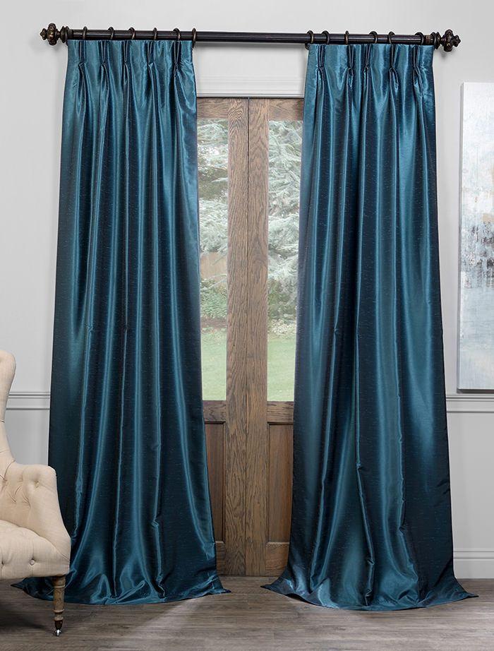 Peacock Blackout Vintage Textured Faux Dupioni Pleated Curtain