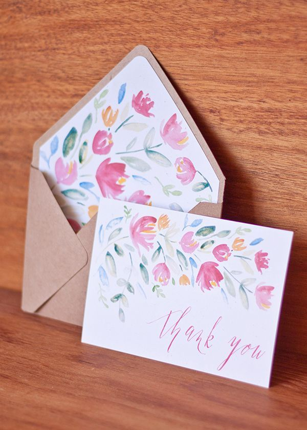 FREE printable: hand-painted floral thank-you cards with corresponding envelope liners and a handy envelope template.