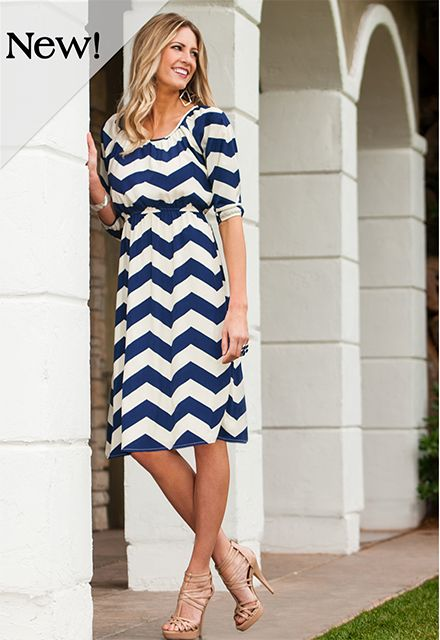 His eyes may blur but all he'll see is YOU in this bold striped Navy and Cream dress! The Christina, from #DiviineModestee