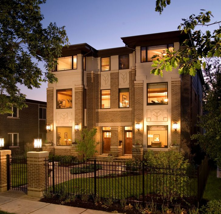 .      Storefront glass as a residential elevation – Storefront glass is used here to open the rear of an urban home in Chicago's Lincoln Park neighborhood to the property's back yard and detached garage.