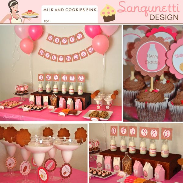 Milk and cookies the perfect match!! Now in this cute pink version perfect for girls, or even Valentine's Day.  This collection includes birthday themed pieces, but this party is still very versatile. Everything you need to create a whimsical party or baby shower.  Perfect for your toddlers first or second birthday too!