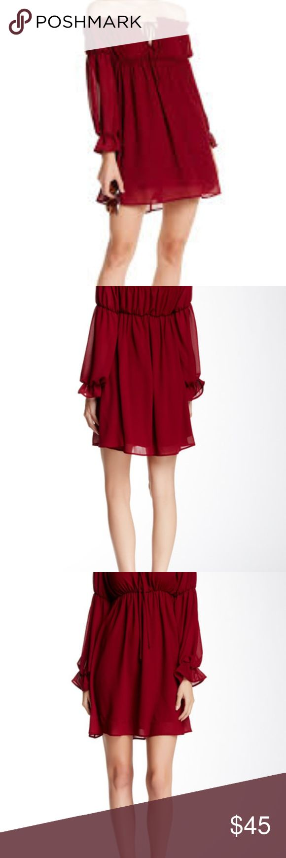 Dee Elly Off The Shoulder Bell Dress Burgundy Only Worn