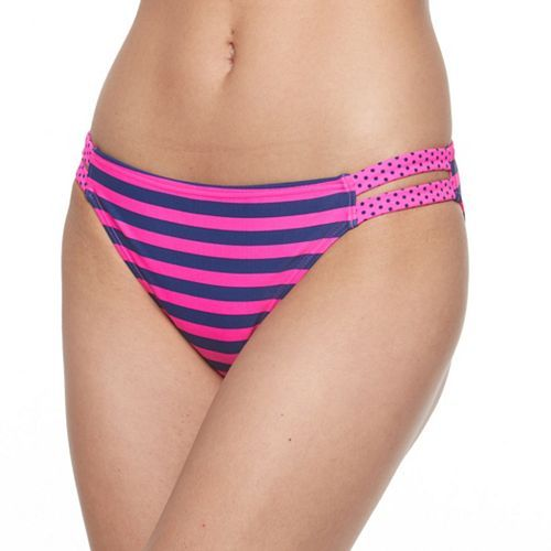 "SO Mix & Match Cutout Scoop Bikini Bottom-cut out sides, scoop styling, stripe body, polka dot trim, double 1/2"" side polka dot hip bands, 82% nylon/18% spandex, lining 100% polyester, hand wash, navy/pink, retail $32, Kohl's (s)"
