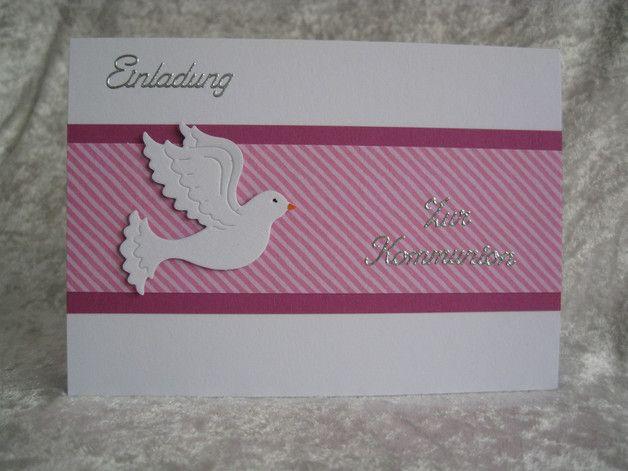 **Einladungskarte Zur Kommunion** Einladungskarte, DinA6 (Klappkarte - Querformat) inkl. Einlegeblatt (blanko und lose) in Weiß und einfachen Briefumschlag in Weiß. Kartenfarbe: Weiß -...
