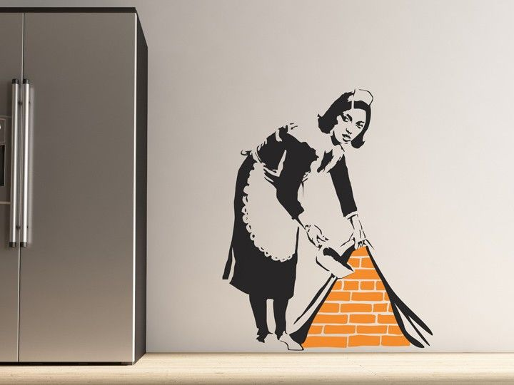 This quirky wall sticker is based on a design by UK graffiti artist Banksy. It features an old-fashioned maid sweeping some rubbish under your wallpaper. Perfect for plain white walls, this wall sticker creates a 3D illusion of the bricks being exposed behind the paper. Express some of your personality with this humorous, characterful wall sticker that makes a bold and stylish statement in any room.