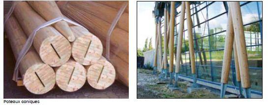 Poteaux ronds en lamellé collé Fabrication poteau rond Alsace - AGEKA