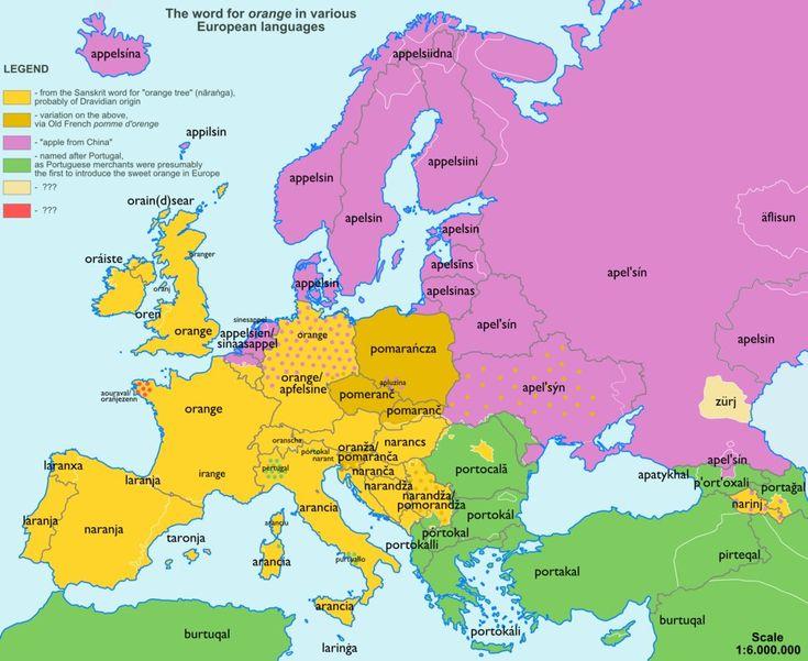 European Countries Where French Is Spoken Part - 36: Europe Etymology Maps - Orange