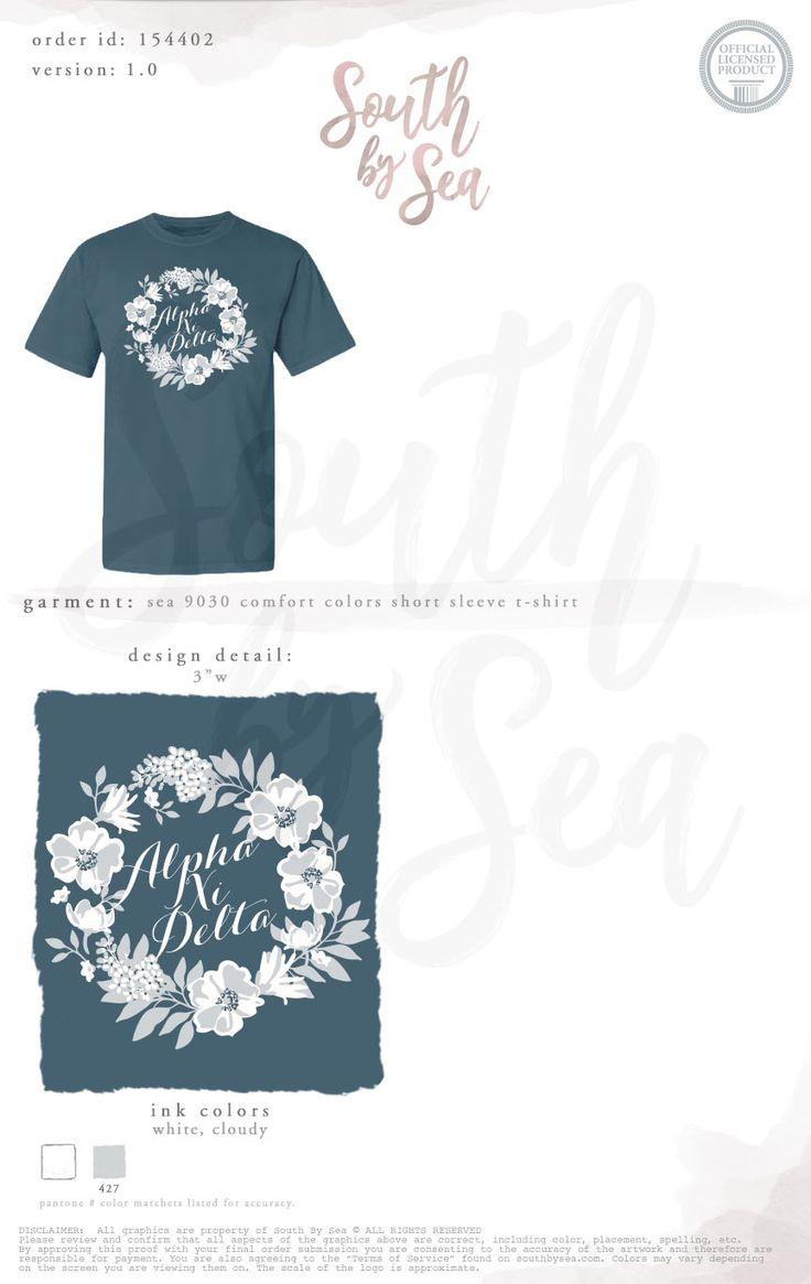 Shirt design app for pc - Alpha Xi Delta Axid Floral Wreath Script Design Sisterhood Bid Day