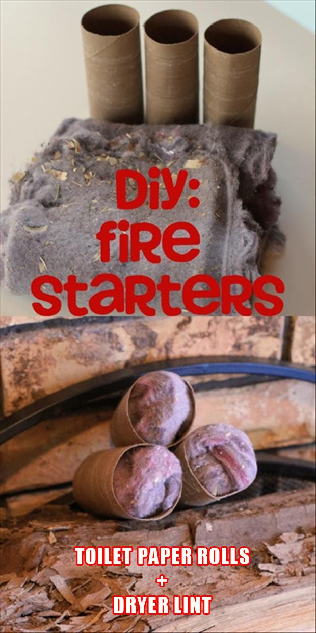 DIY fire starters--because there's never a shortage of toilet paper rolls or dryer lint around here...