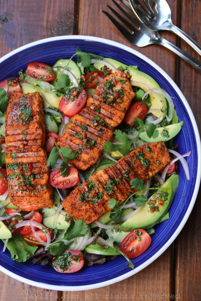 Grilled Salmon and Avocado Salad with spicy cumin lime cilantro dressing. Use a grill pan in winter for this sunny salad - serves 5 for Phase 3.