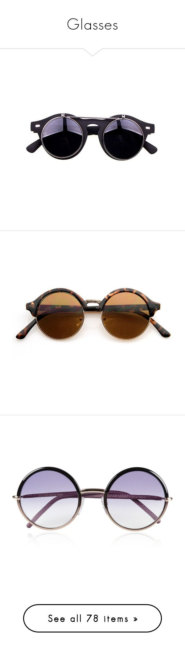 """""""Glasses"""" by mizaha ❤ liked on Polyvore featuring accessories, eyewear, sunglasses, glasses, chicnova, round lens sunglasses, vintage sunglasses, vintage round sunglasses, vintage eyewear and round sunglasses"""