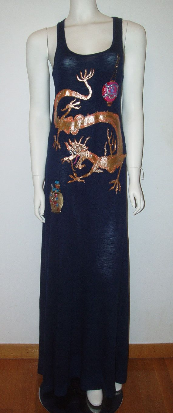 Hand Painted Long Dragon Dress
