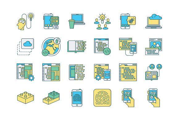 57 Web & Mobile Development Icons  @creativework247