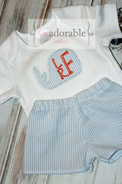 Whale Seersucker Short Set for Boys  Sizes by SewAdorableBowtique, $38.00