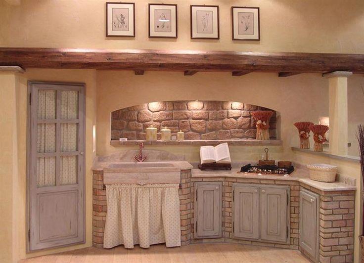 17 migliori idee su mattoni su pinterest esterno in - Cucina rustica in pietra ...