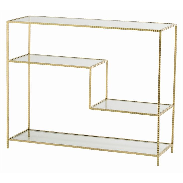 ARTERIORS   Worchester Console H: W: D: The Hammered Iron Frame Of This  Console Features Offset Glass Shelves. Iron With A Gold Leaf Finish.