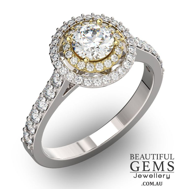 Engagement Ring With 1 Carat Tdw Of Diamonds In White Yellow Gold Beautiful Gems Jewellery