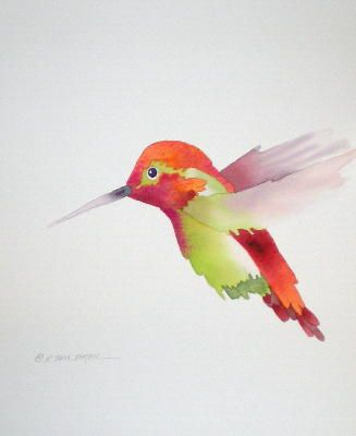 """Watercolor.  Bennie Lock quote """"Special education students are like hummingbirds.  Some people believe that those special students are not suppose to learn, hummingbirds are not suppose to fly!  Thanks to God hummingbirds can fly forward and backwards and special students can learn!!!"""""""