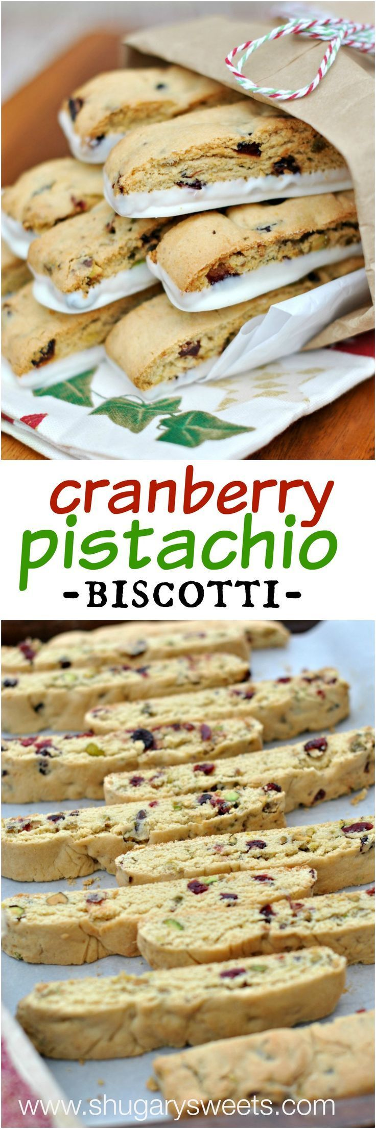 Cranberry Pistachio Biscotti recipe is easy to make and perfect for holidays!