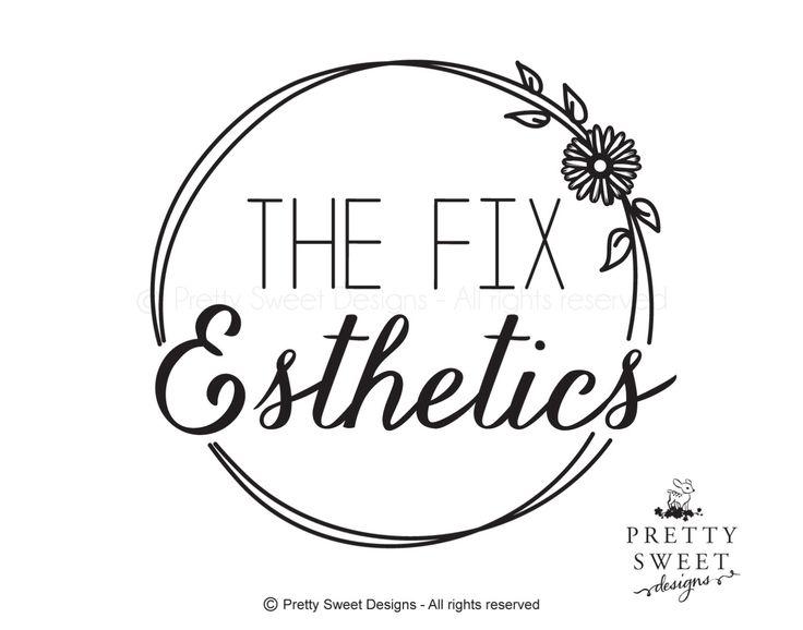 Esthetics logo, Black and white, skin care logo, daisy logo, logo for salon, daisy illustration, skin care branding by MyPrettySweetDesigns on Etsy