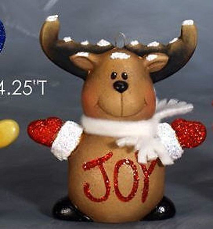 "Ceramic Bisque Ready to Paint Small Reindeer ornament 4.25""""Tall"
