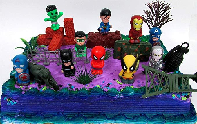 15 Piece SUPER HERO Birthday Cake Topper Set Featuring Comic Book Icon Characters And Decorative Themed