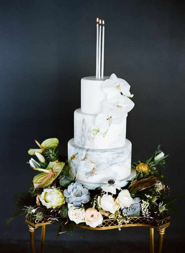 Painted wedding cake   Carrie King Photographer & Sunflower Creative   see more on: http://burnettsboards.com/2015/03/time-celebrate-burnetts-boards-turns-3/