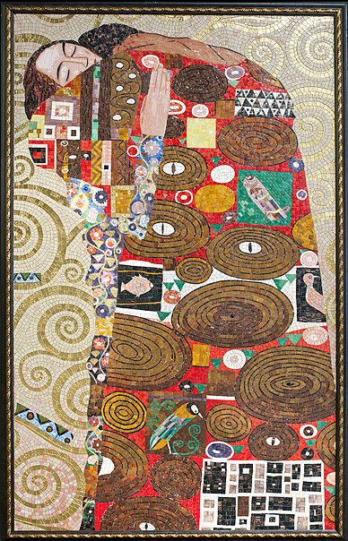 BellaVetro highlights the extraordinary colors and enigmatic patterns of Klimt's work. These life-size mosaics are detailed with gems and precious stones.