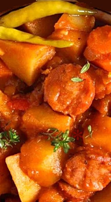 Easy Potato Stew With Sausages & Vegetables