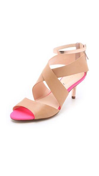 nude + hot pink kitten heels