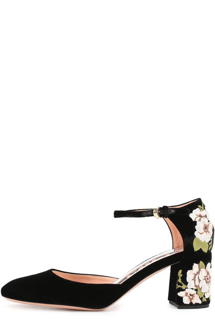 Женские черные туфли из текстиля с цветочной вышивкой Rochas, сезон FW 16/17, арт. R027142/VELVET EMBR0IDERY купить в ЦУМ | Фото №2