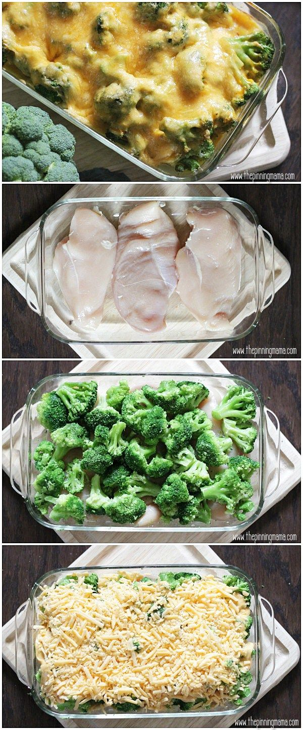 Broccoli & Cheddar Cheese! My FAVORITE flavor combo!!! This easy Broccoli Cheese Chicken Bake recipe can be prepped in 10 minutes!!