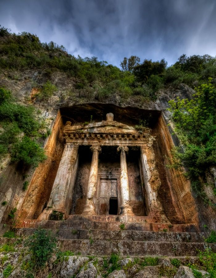 Telmessos Rock Tombs of the Lycian Civilization built ca. years 500 BC., Fethiye - Turkey.