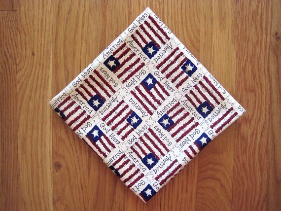 Patriotic Bandanas US Flags Stars Stripes Old Glory 100% COTTON God bless America Dark Red Blue Beige Americana Historical scarf 21.5 x 21.5 ~ Handmade in USA ~ Available on www.MaliakeiBags.com