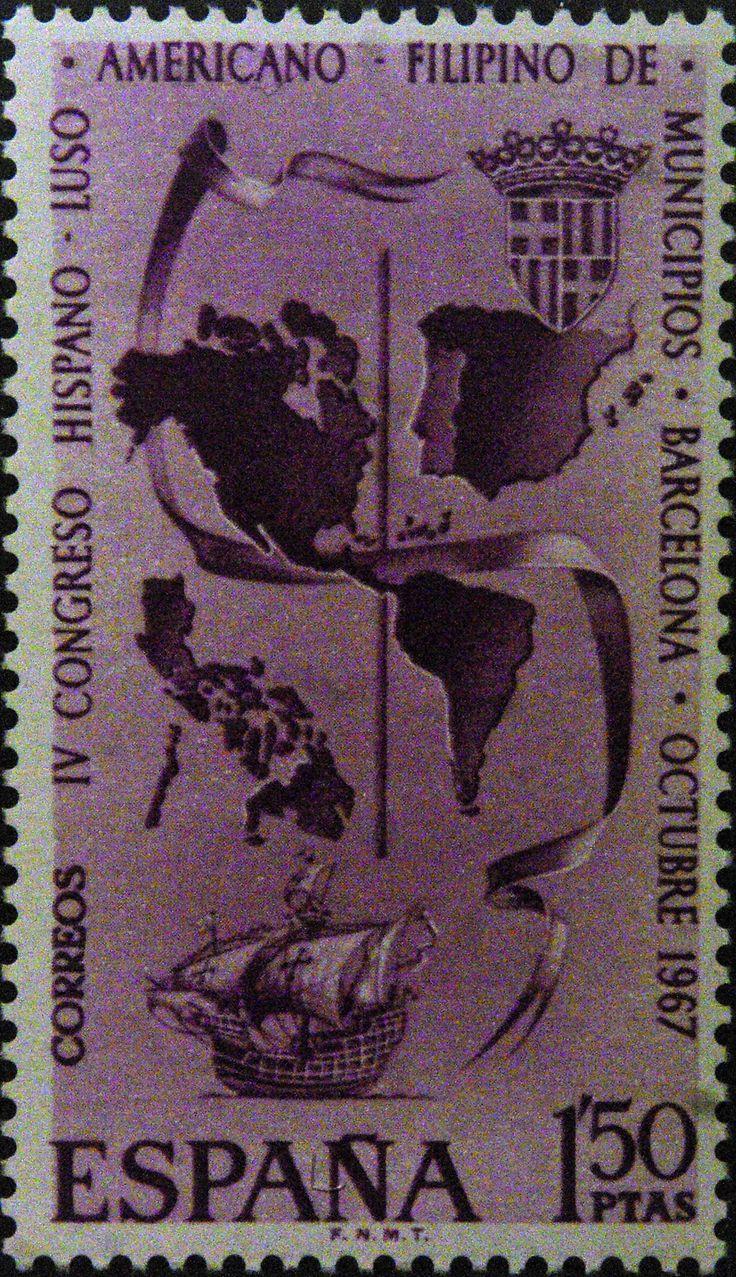 Sellos - IV Congreso Hispano  - Luso- Americano - Filipino  de Municipios - Barcelona 1967