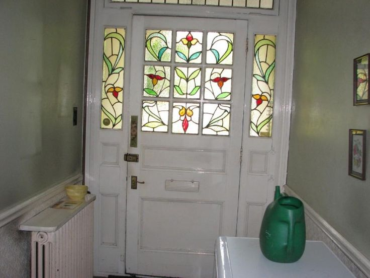 White Door With Stained Glass