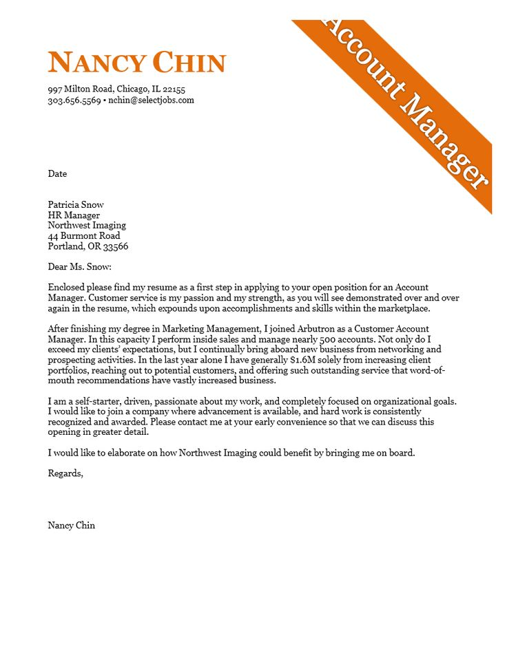 10 best cover letter examples images on Pinterest | Cover letter ...
