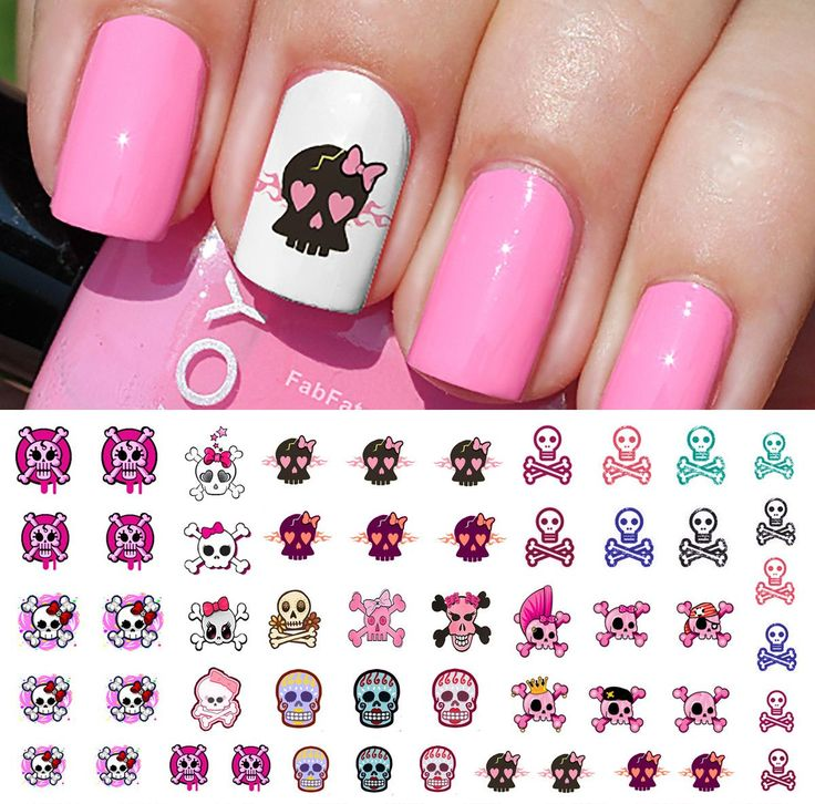 Cute Skulls Set #2 Nail Art Waterslide Decals - pppMonster High Style!
