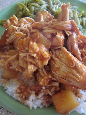Crock Pot Hawaiian BBQ Chicken. 3 ingredients & the crock pot does all of the work. It's delicious!