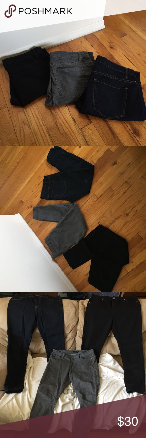 F21 Petite Skinny Jeans Bundle Lot Bundle of 3 pairs of skinny jeans from Forever 21. Includes a black pair, a dark blue pair (both size 30) and a gray pair (size 29). The inseams on all of them are 30 inches, so these would best fit someone Petite (I'm 5'1). All good condition, the black and blue pairs were barely worn. Forever 21 Jeans Skinny
