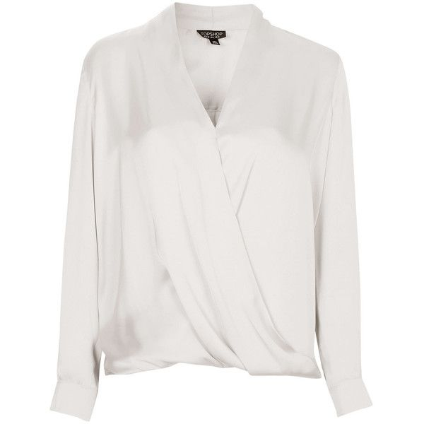 TOPSHOP Satin Drape Blouse (90 CAD) ❤ liked on Polyvore featuring tops, blouses, ivory, ivory blouse, long sleeve drape front blouse, long sleeve drape top, topshop tops and topshop blouses