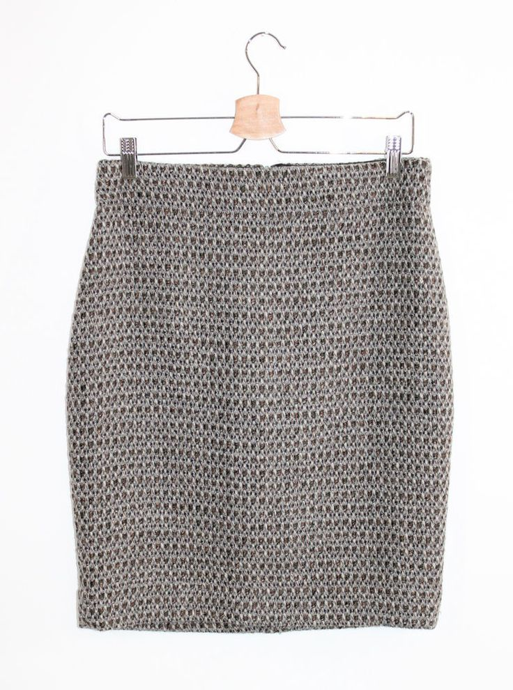 J.Crew Factory Gray Timber Tweed Wool Blend Metallic Pencil Skirt 8 #JCrew #StraightPencil
