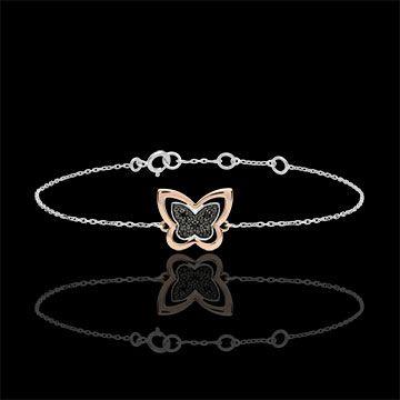 regalo Bracciale Passeggiata Immaginaria - Farfalla Lunare - oro rosa e diamanti neri  - 9 carati