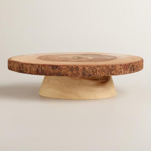 One of my favorite discoveries at WorldMarket.com: Wood Bark Pedestal Stand...serve cheese rustic