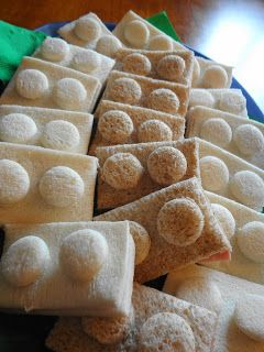Lego block sandwiches - cut circles (using a water bottle lid) and press them on with a little bit of cream cheese.