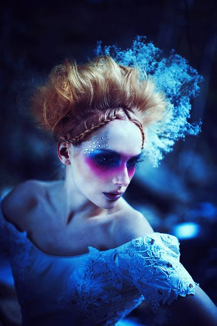 Crystals accent this ethereal aqua and pink fantasy make-up look.